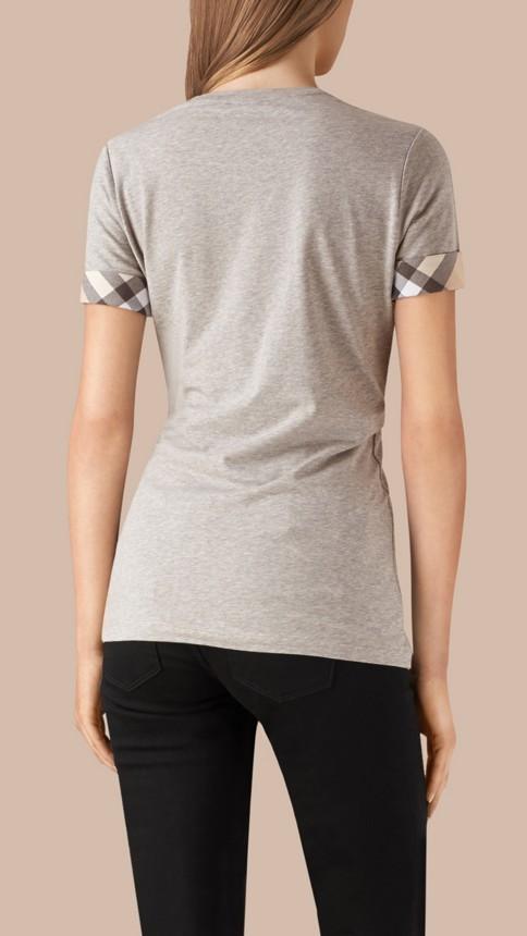 Pale grey melange Check Cuff Stretch Cotton T-Shirt Pale Grey Melange - Image 3