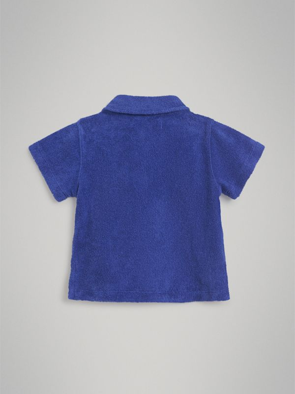 Towelling Polo Shirt in Hydrangea Blue - Children | Burberry - cell image 3