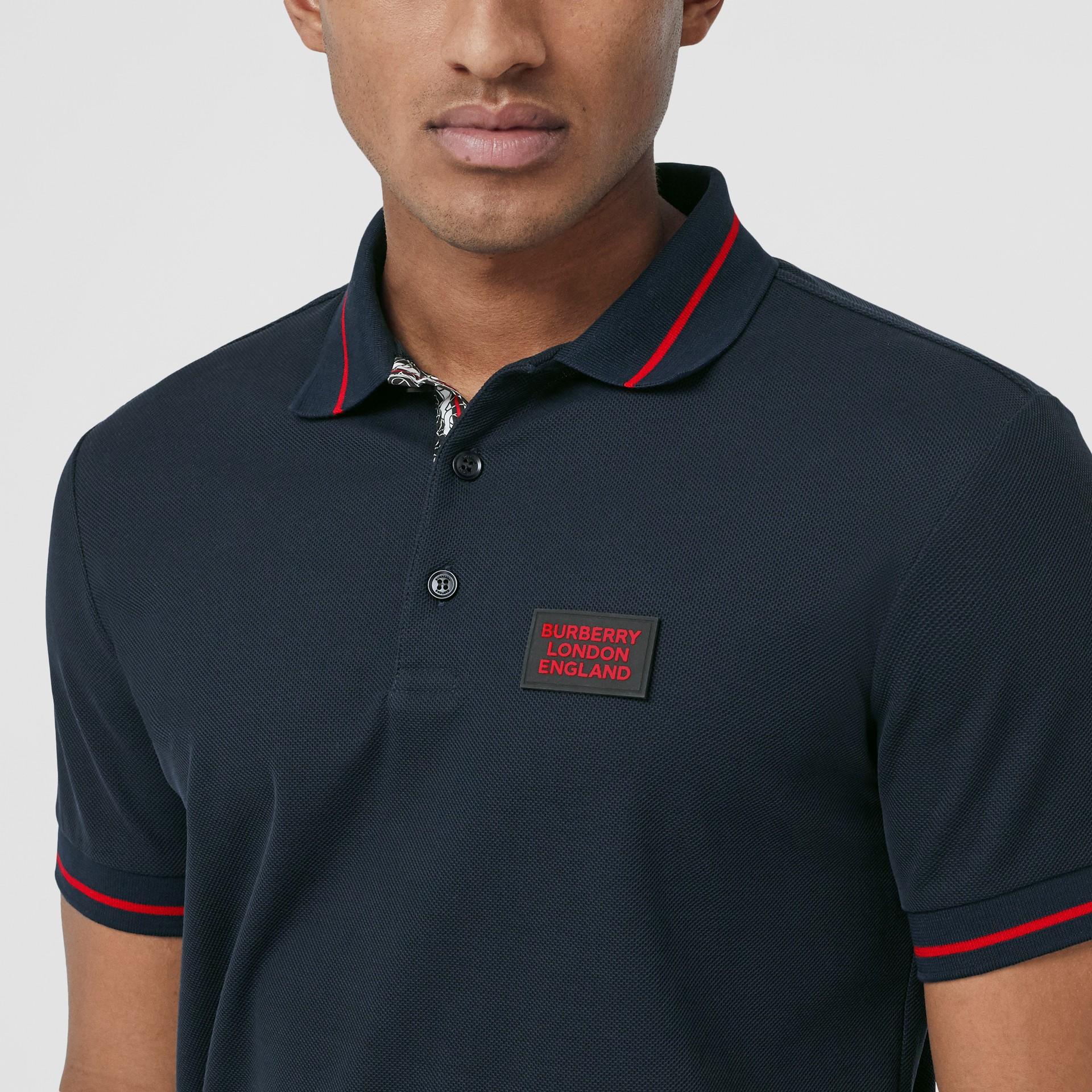 Logo Appliqué Cotton Piqué Polo Shirt in Navy - Men | Burberry Hong Kong S.A.R - gallery image 1
