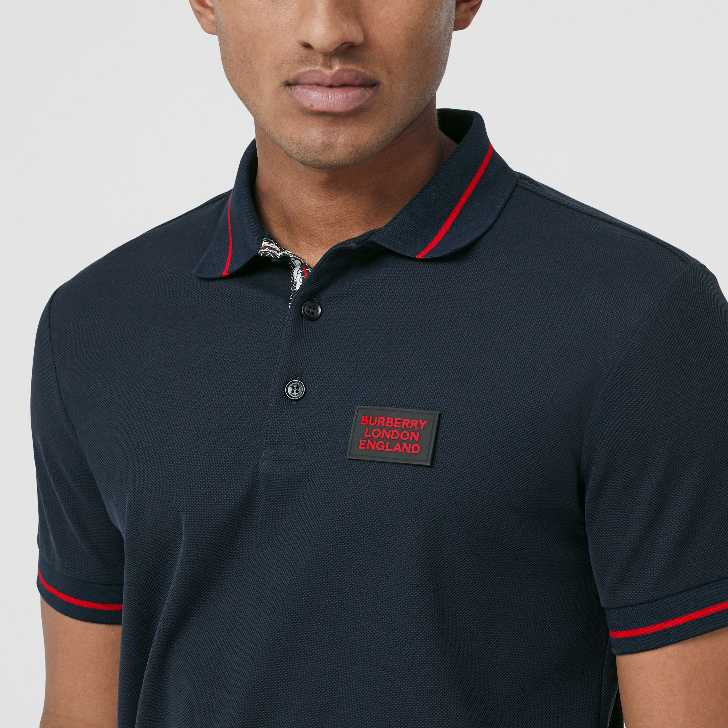 Logo Appliqué Cotton Piqué Polo Shirt in Navy - Men | Burberry - 2