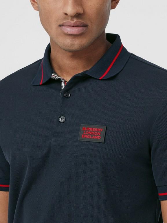 Logo Appliqué Cotton Piqué Polo Shirt in Navy - Men | Burberry Hong Kong S.A.R - cell image 1