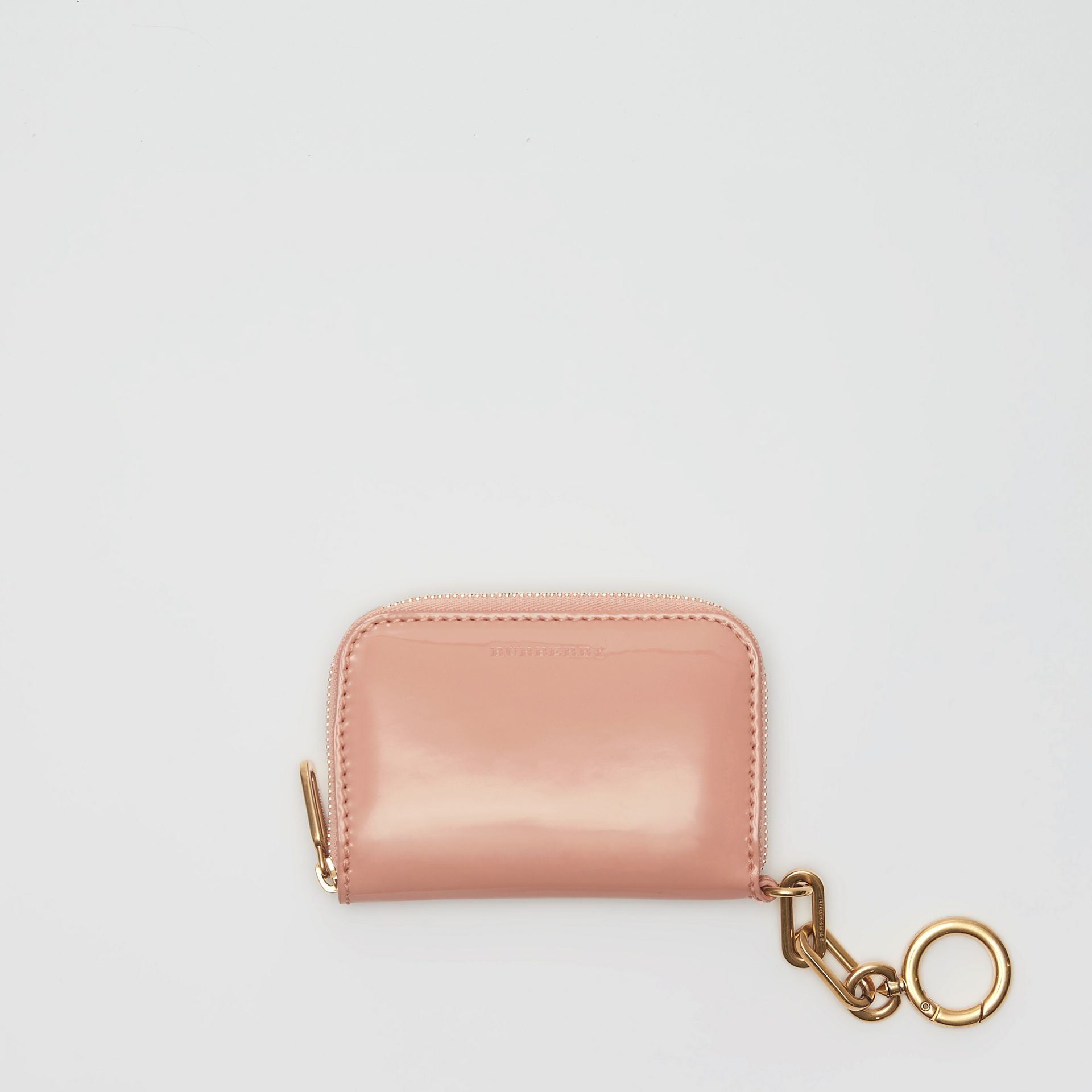 Link Detail Patent Leather Ziparound Wallet in Pale Fawn Pink - Women | Burberry Singapore - gallery image 2