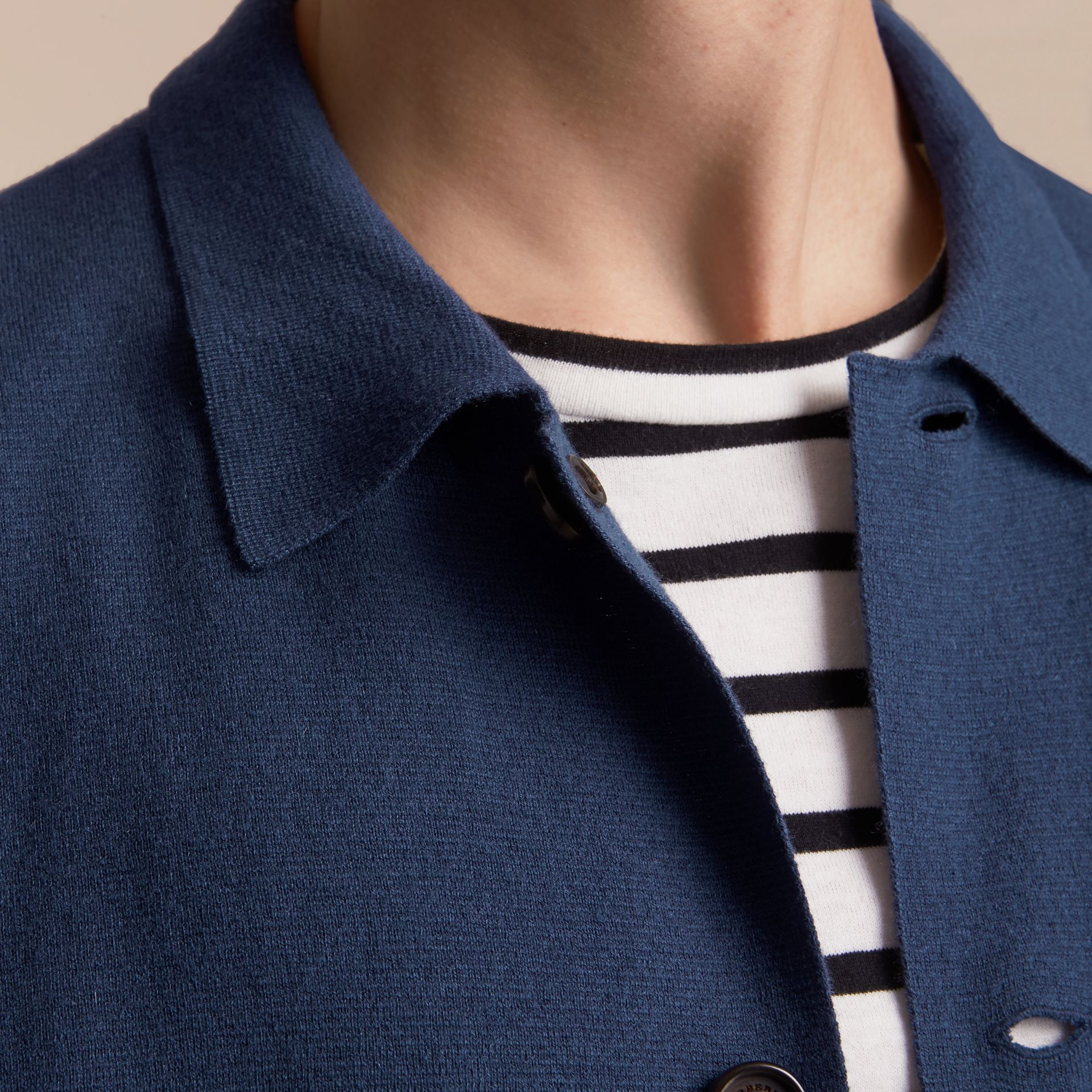 Knitted Cashmere Cotton Workwear Jacket in Steel Blue - Men | Burberry - gallery image 5