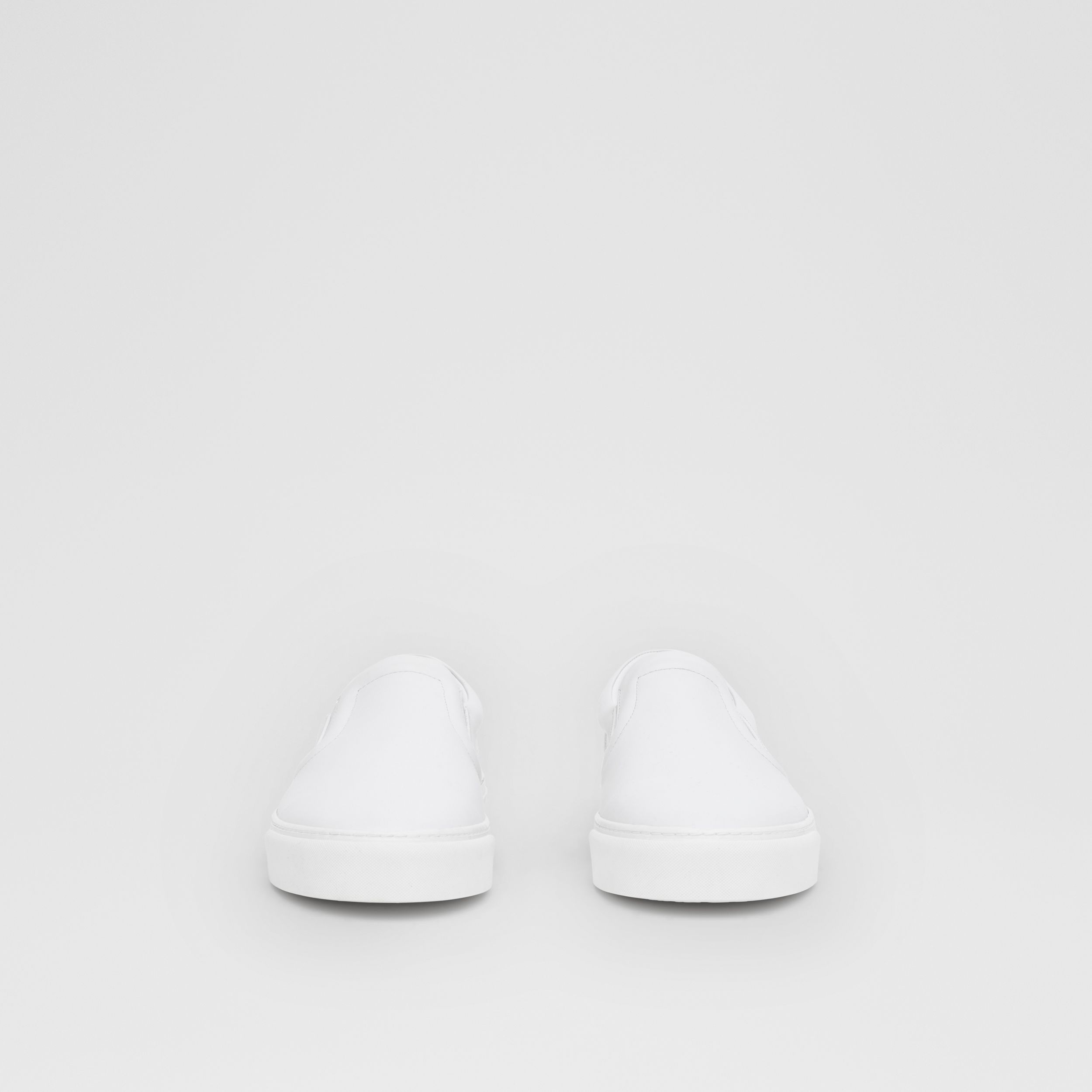 Bio-based Sole Leather Slip-on Sneakers in Optic White - Men | Burberry - 3