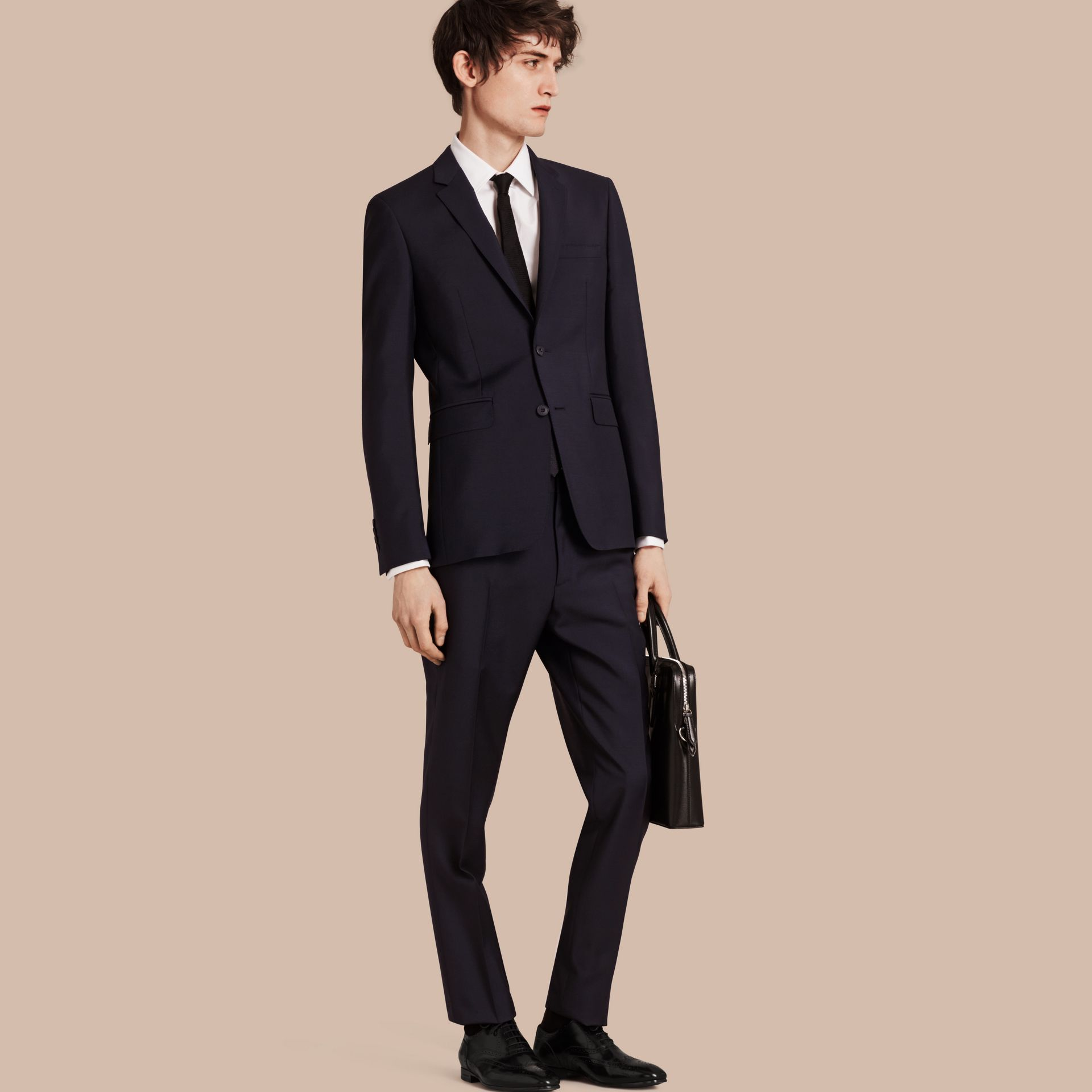 Slim Fit Wool Mohair Part-canvas Suit in True Navy - Men | Burberry - gallery image 1