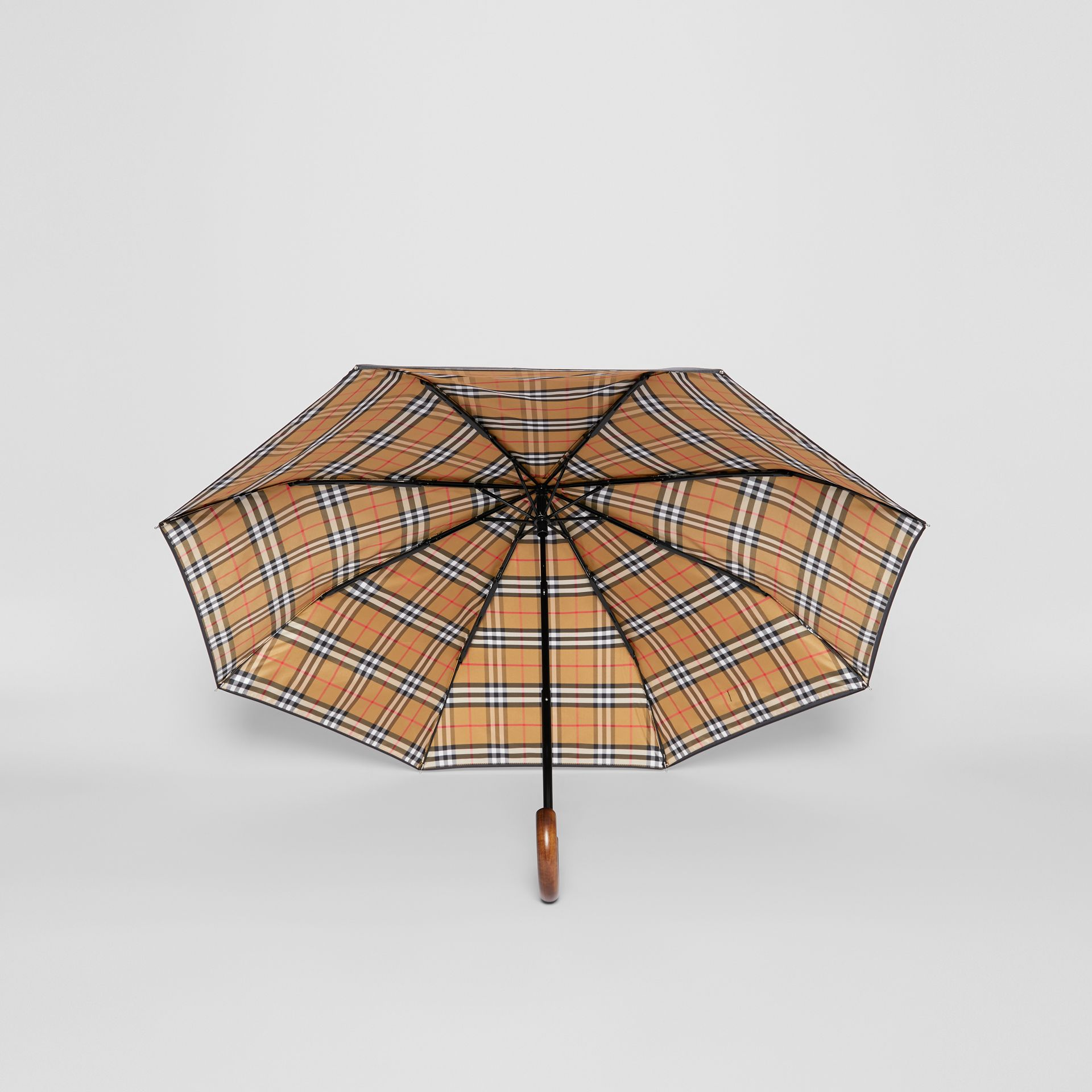 Vintage Check-lined Folding Umbrella in Black | Burberry - gallery image 2
