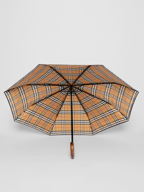Vintage Check-lined Folding Umbrella in Black | Burberry - cell image 2