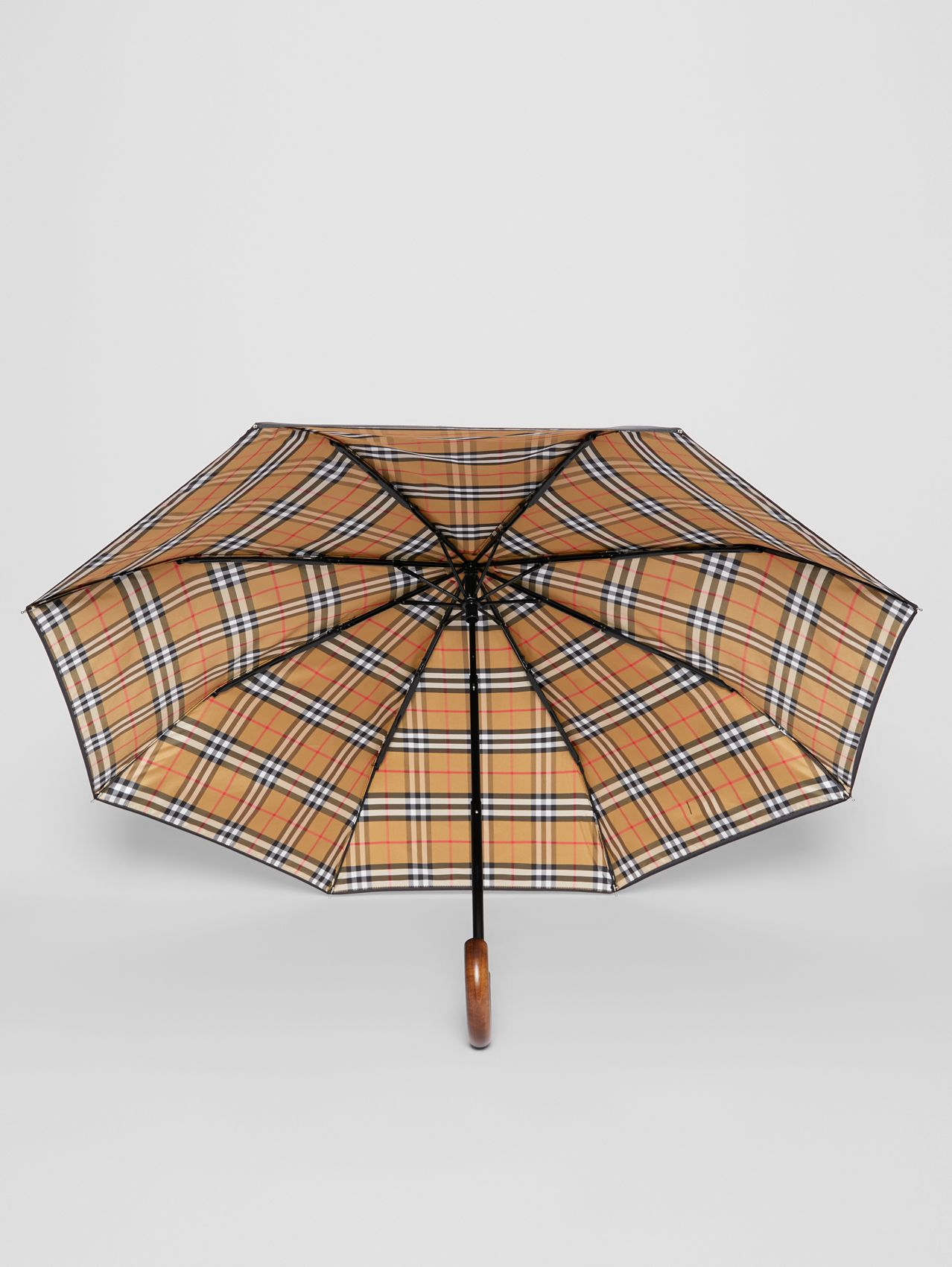 Vintage Check-lined Folding Umbrella in Black