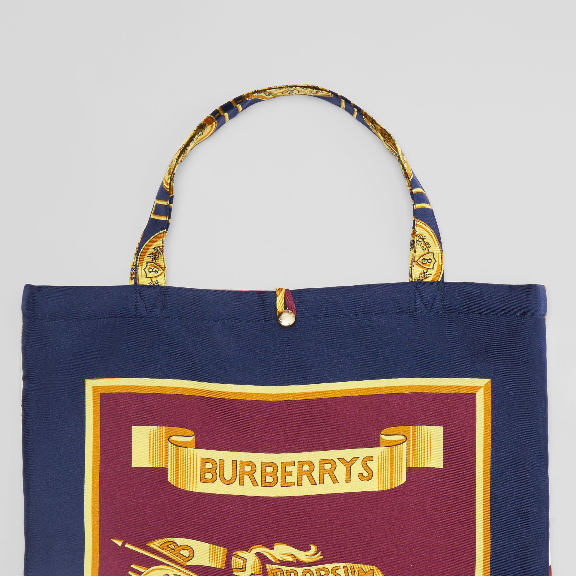 Archive Scarf Print Silk Tote in Military Red/burgundy - Women | Burberry Australia - gallery image 1