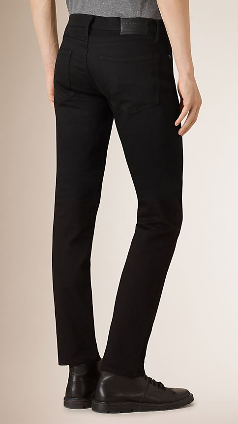 Black Straight Fit Yarn Dyed Jeans - Image 2