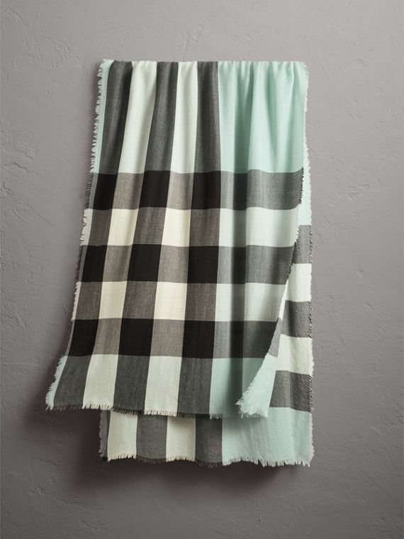 Lightweight Check Cashmere Scarf in Dusty Mint