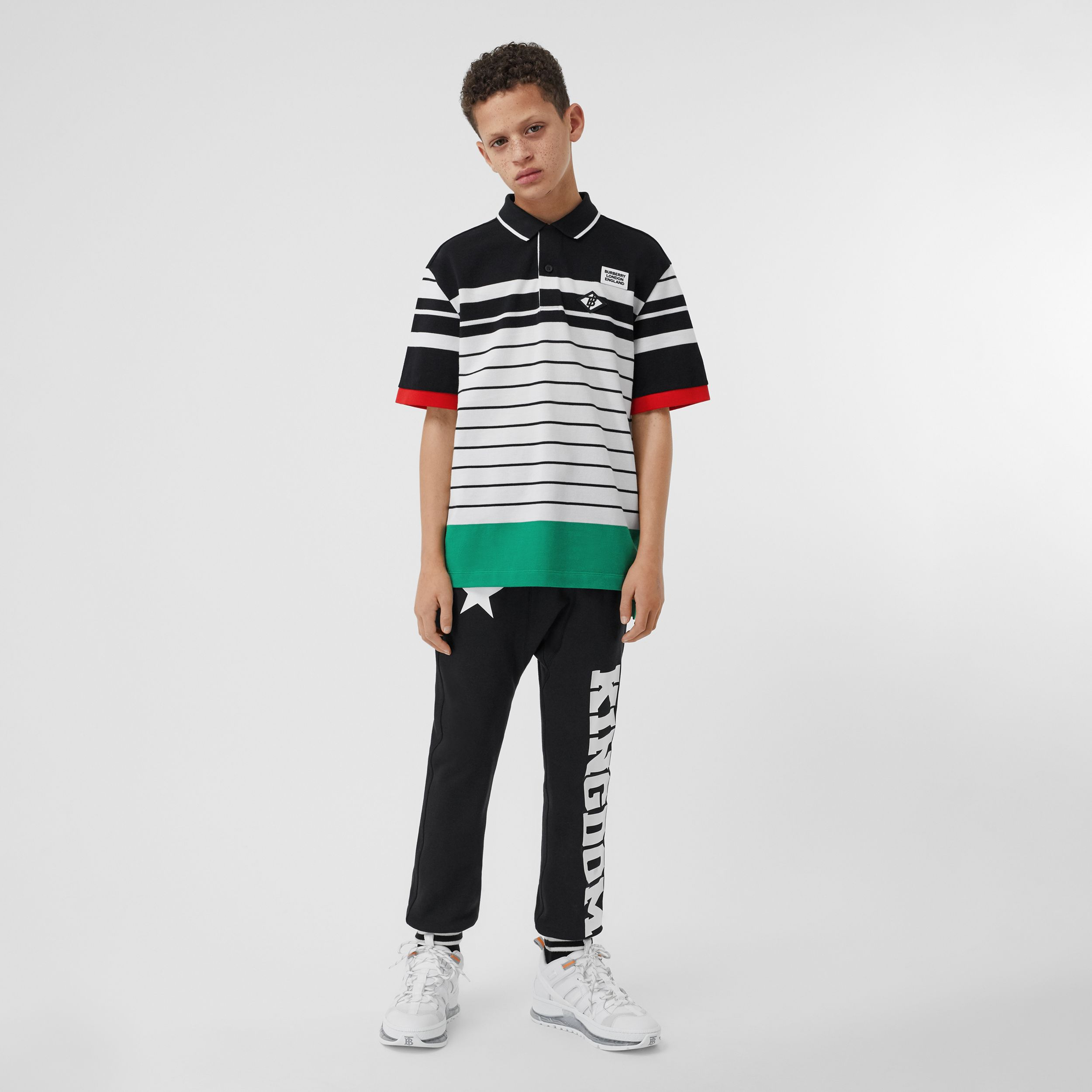 Logo Graphic Striped Cotton Piqué Polo Shirt in Multicolour | Burberry - 3