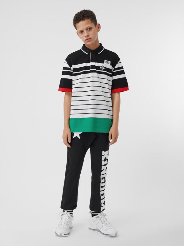 Logo Graphic Striped Cotton Piqué Polo Shirt in Multicolour | Burberry United Kingdom - cell image 2