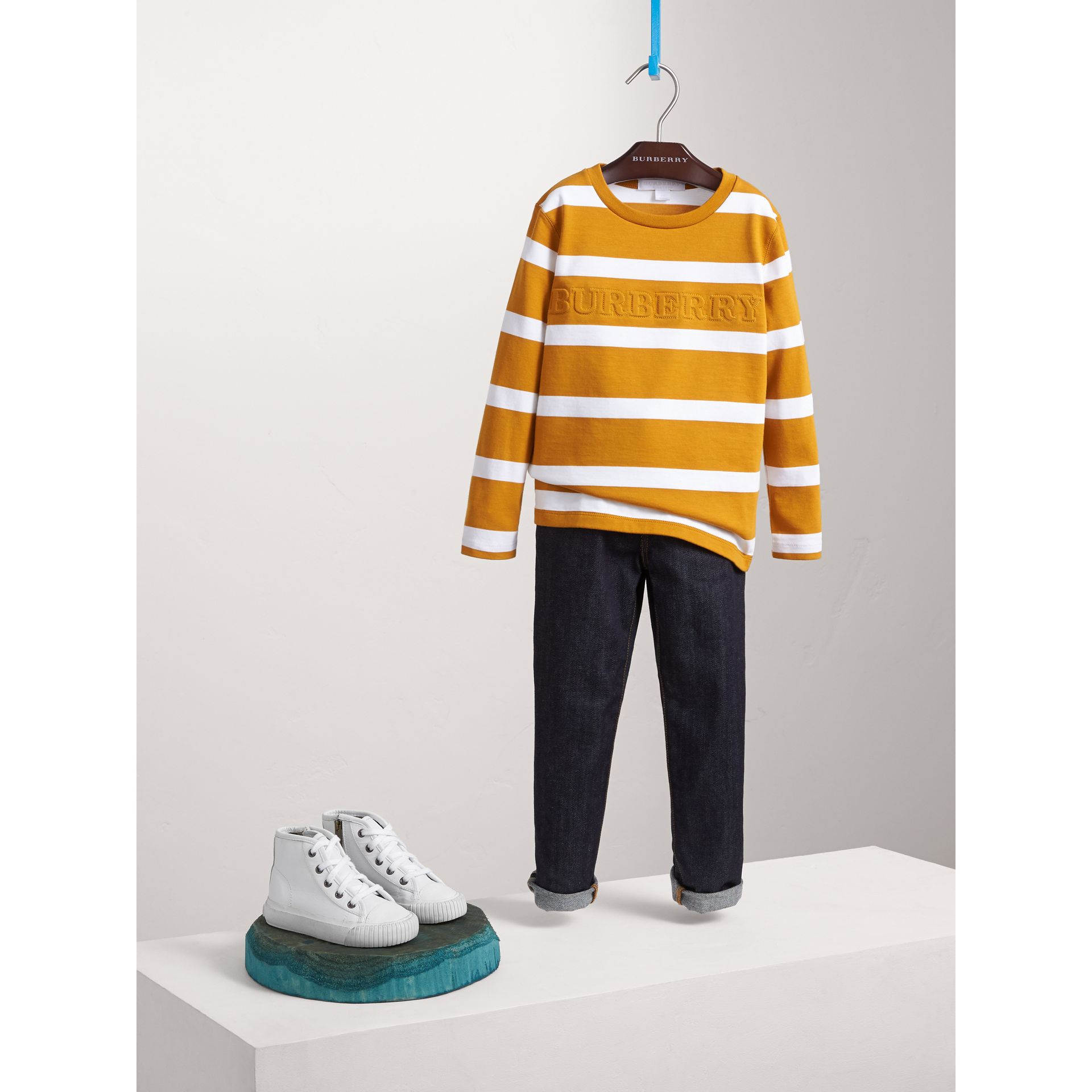 Long-sleeve Striped Cotton T-shirt in Ochre Yellow/white - Boy | Burberry - gallery image 1