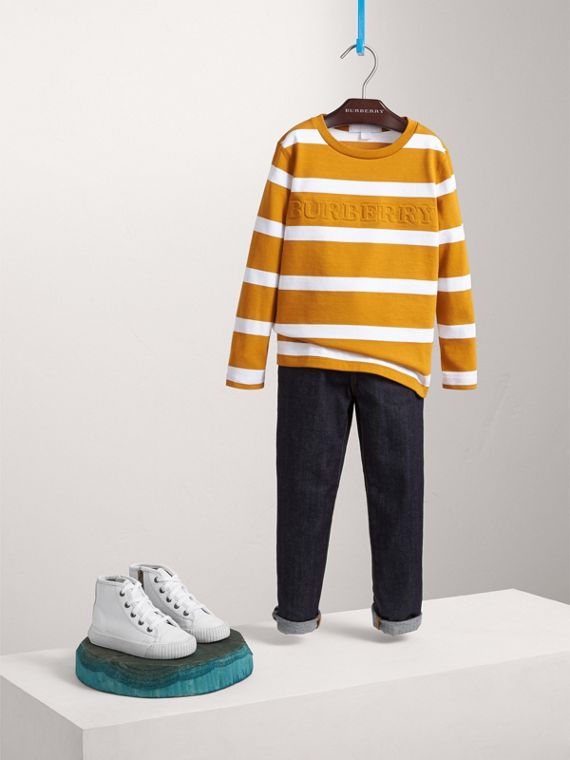Long-sleeve Striped Cotton T-shirt in Ochre Yellow/white - Boy | Burberry Singapore