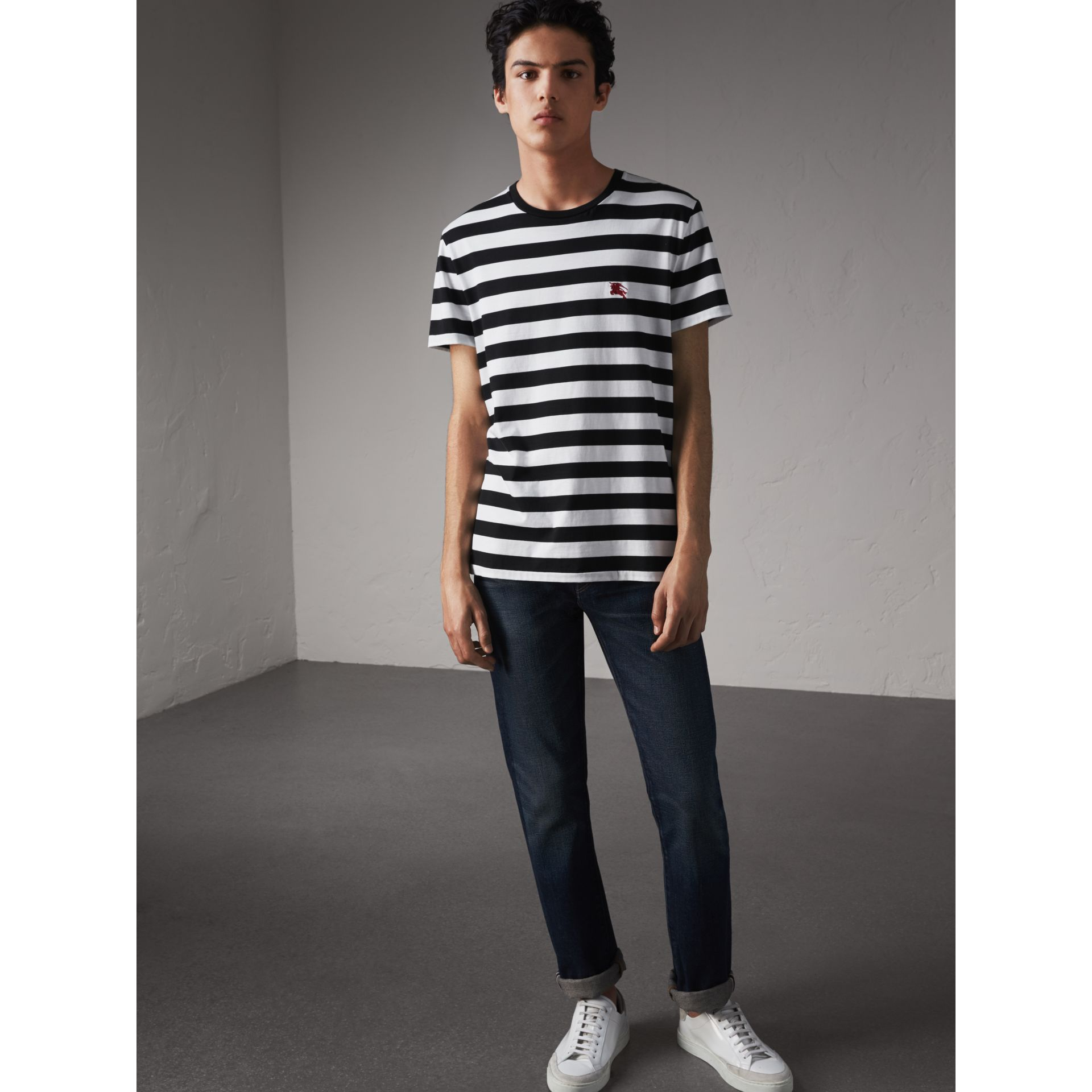 Striped Cotton T-Shirt in Black/white - Men | Burberry Canada - gallery image 0
