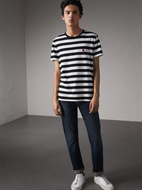 Striped Cotton T-Shirt in Black/white - Men | Burberry Canada
