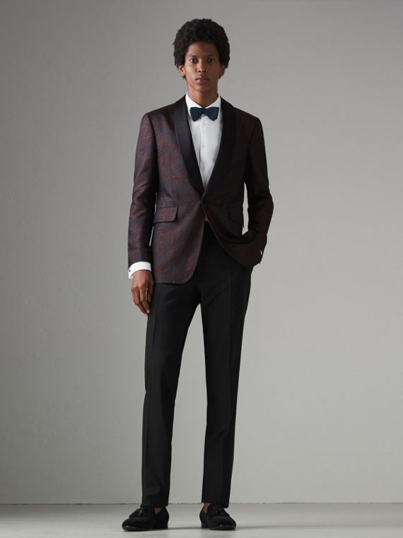 Slim Fit Floral Silk Jacquard Evening Jacket in Deep Claret