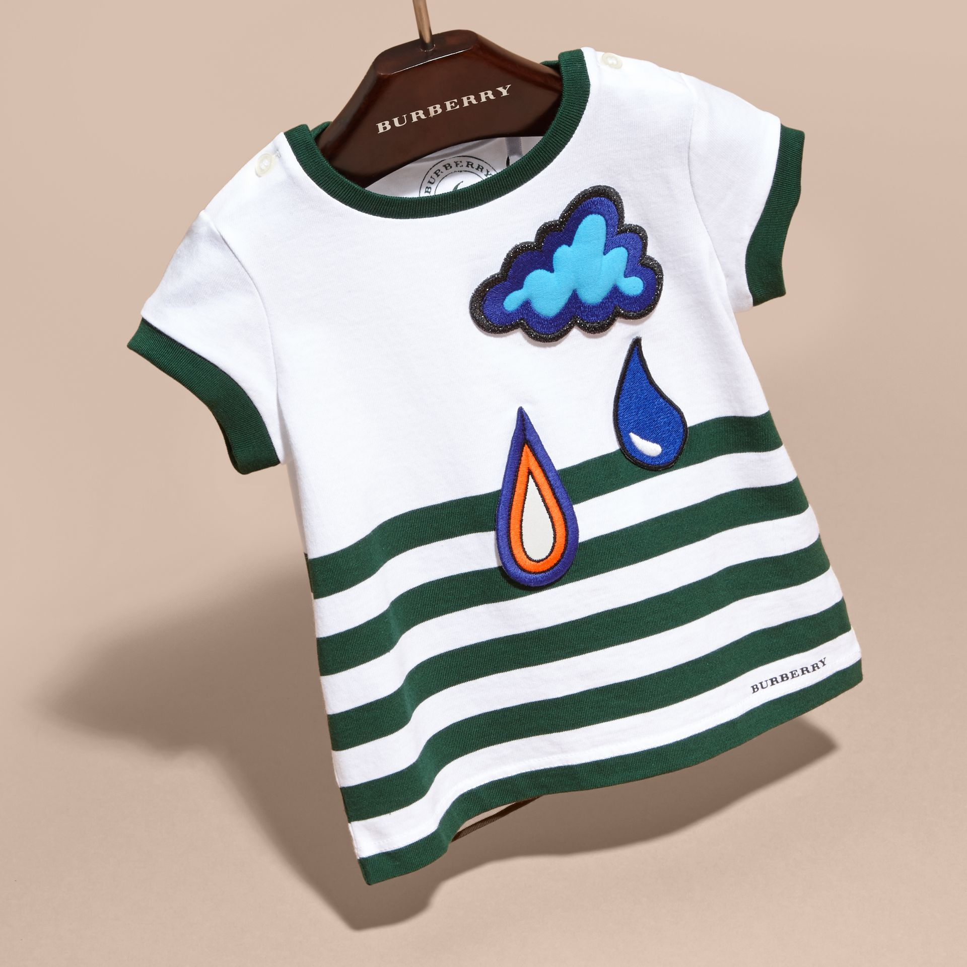 Racing green Striped Cotton T-shirt with Appliqué - gallery image 3