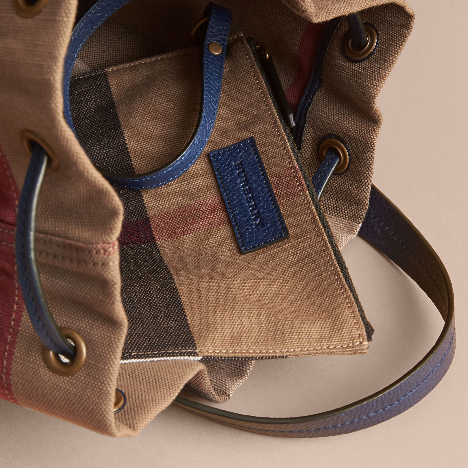 Medium Canvas Check and Leather Bucket Bag in Brilliant Navy - Women | Burberry - gallery image 6