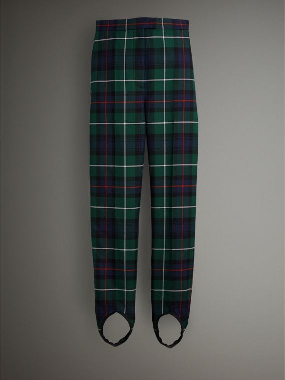 Tartan Wool High-waisted Stirrup Trousers in Forest Green - Women | Burberry Singapore - cell image 3