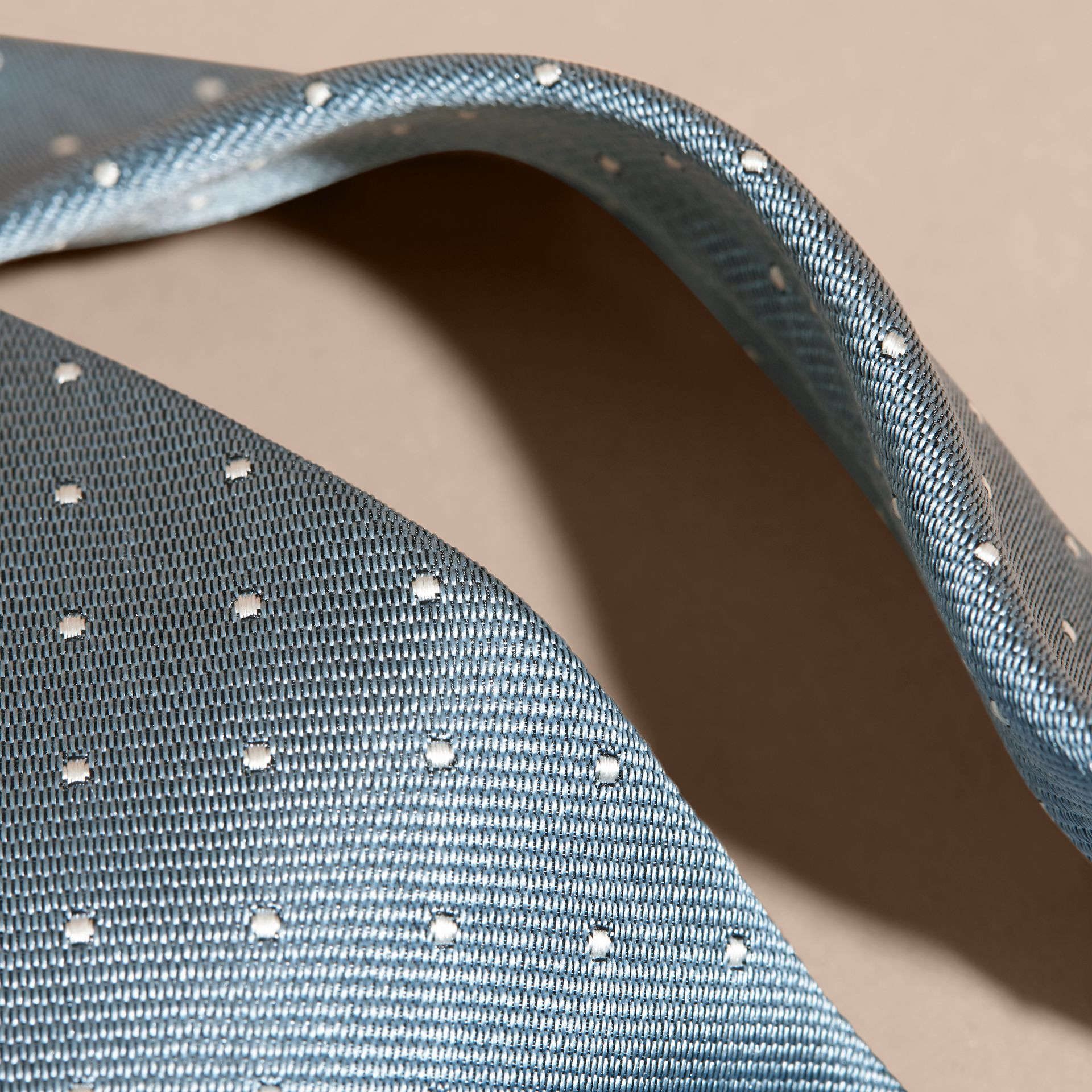 Light blue Modern Cut Polka Dot Silk Tie Light Blue - gallery image 2