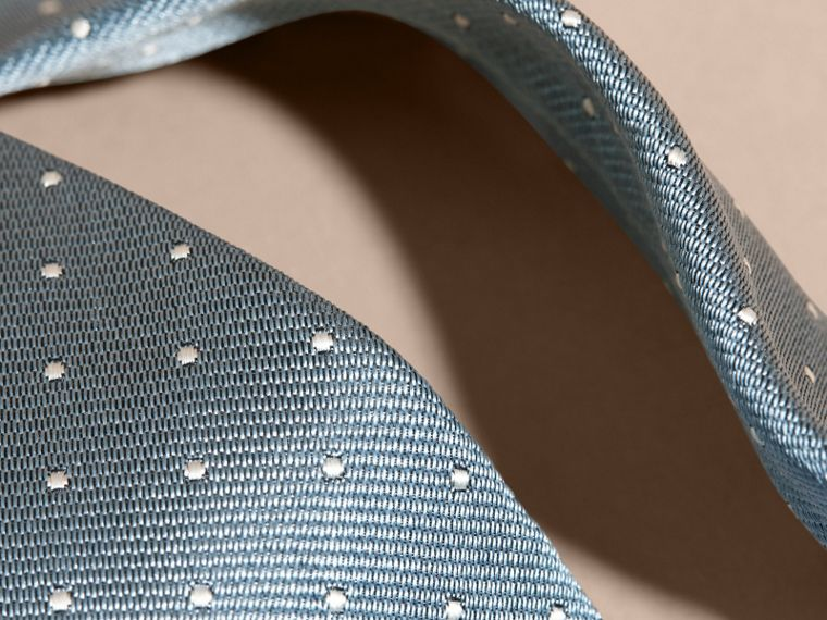 Light blue Modern Cut Polka Dot Silk Tie Light Blue - cell image 1