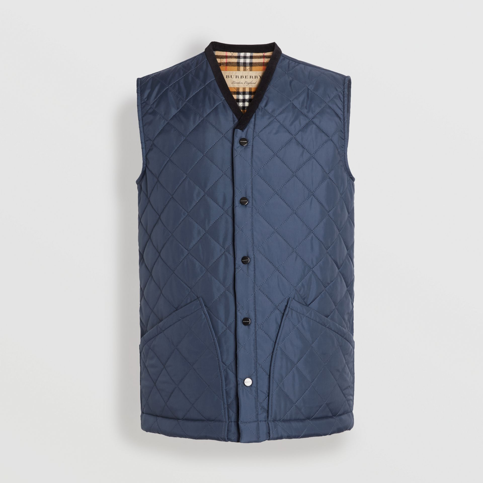 Diamond Quilted Gilet in Bright Navy - Men | Burberry Singapore - gallery image 3