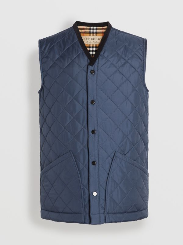 Diamond Quilted Gilet in Bright Navy - Men | Burberry Canada - cell image 3