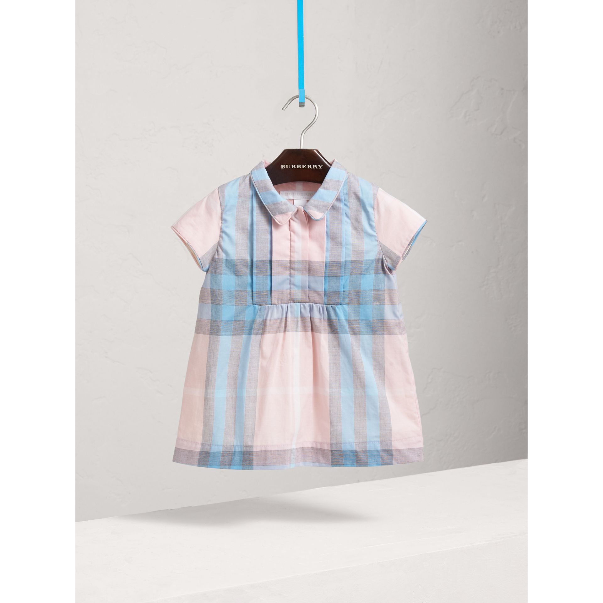 Pleated Bib Check Cotton Dress in Ice Pink | Burberry - gallery image 1