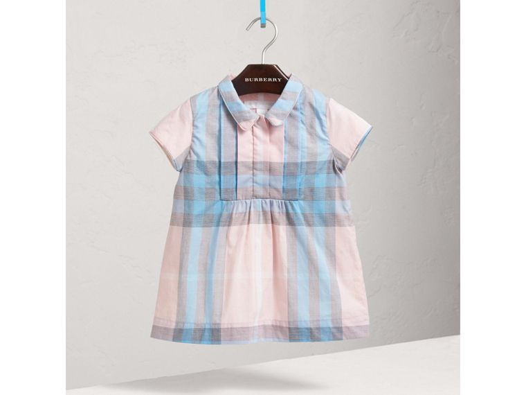 Pleated Bib Check Cotton Dress in Ice Pink | Burberry - cell image 1
