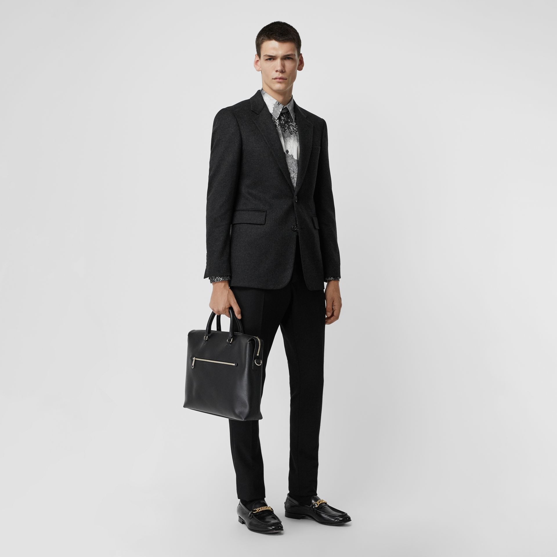 Large Textured Leather Briefcase in Black - Men | Burberry - gallery image 2