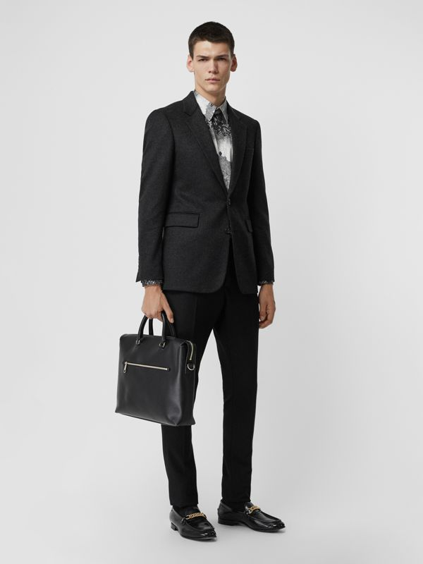 Large Textured Leather Briefcase in Black - Men | Burberry - cell image 2