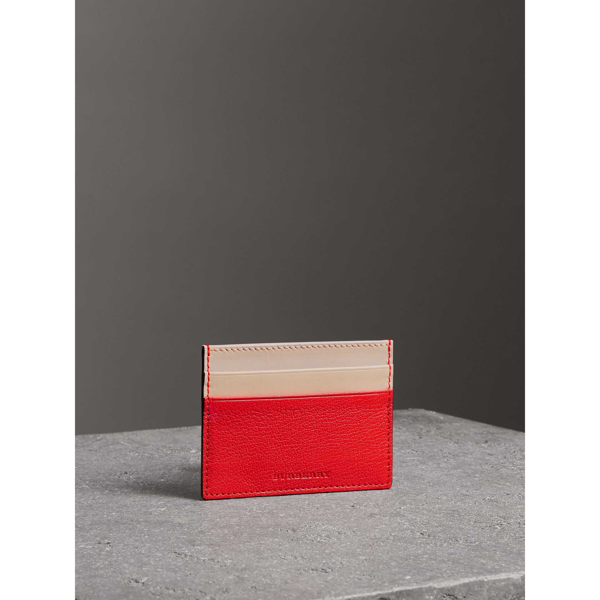 Two-tone Leather Card Case in Bright Red | Burberry - gallery image 5