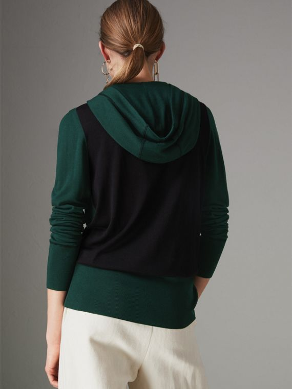 Embroidered Silk Cashmere Hoodie in Pigment Green - Women | Burberry - cell image 2