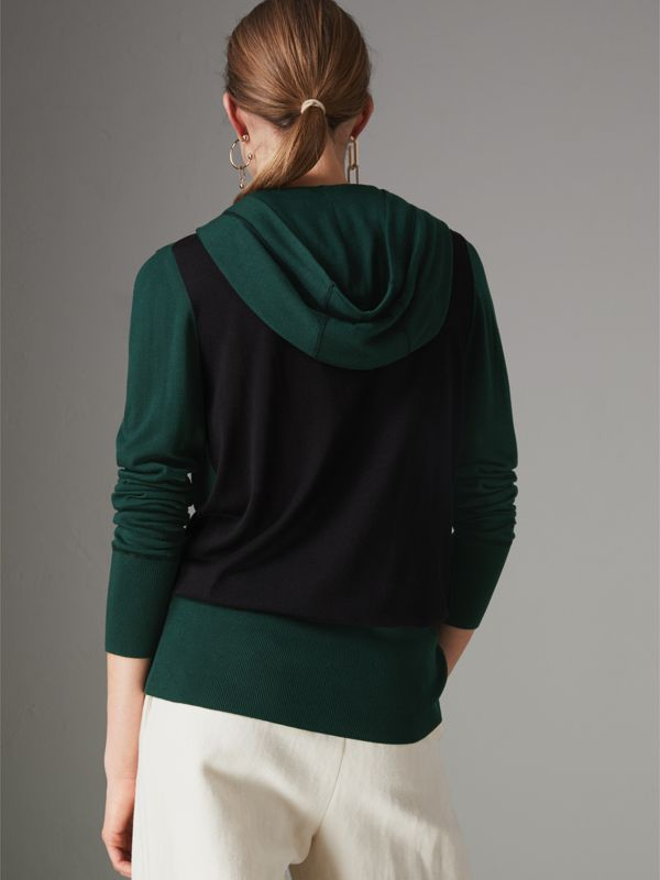 Embroidered Silk Cashmere Hoodie in Pigment Green - Women | Burberry United States - cell image 2