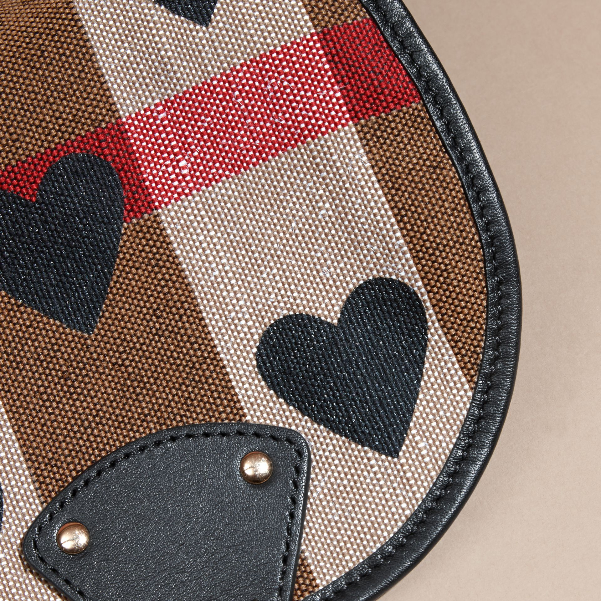 Black Heart Print Canvas Check Backpack with Leather Trim Black - gallery image 4