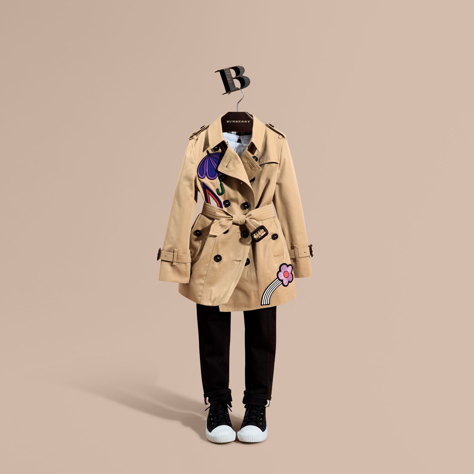 Appliquéd Weather Motif Cotton Trench Coat - gallery image 1