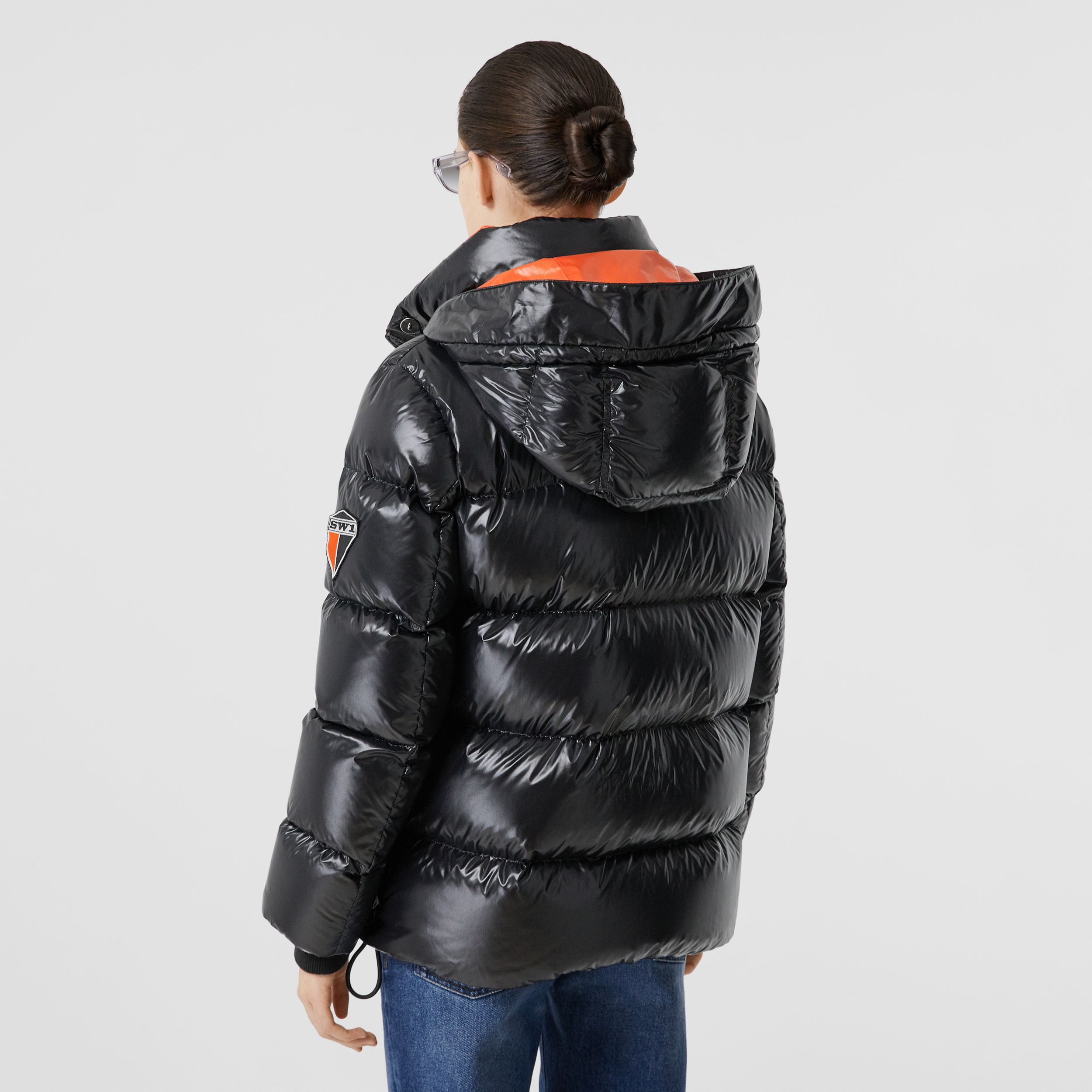 Detachable Hood Logo Graphic Puffer Jacket in Black - Women | Burberry - 3