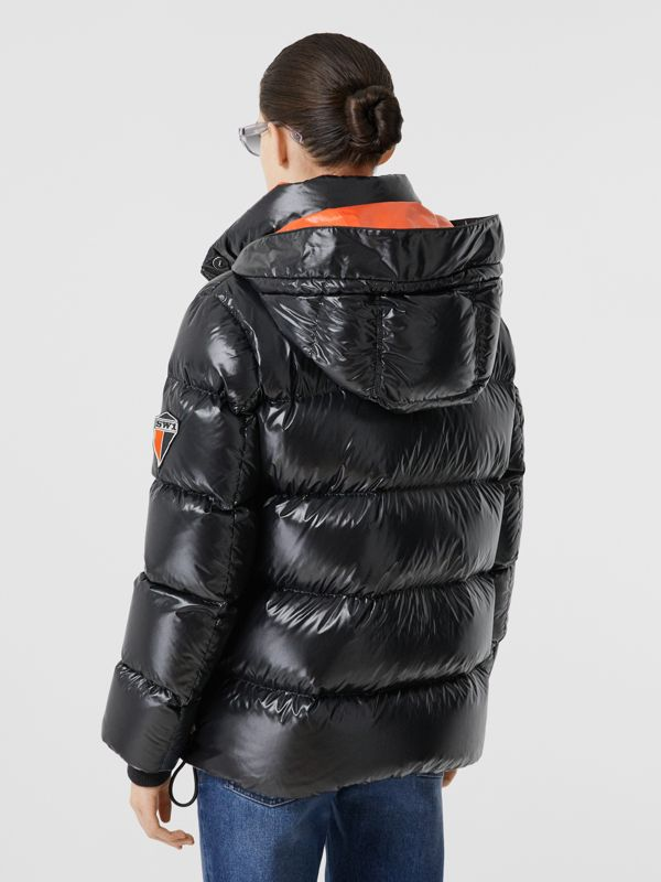Detachable Hood Logo Graphic Puffer Jacket in Black - Women | Burberry United Kingdom - cell image 2