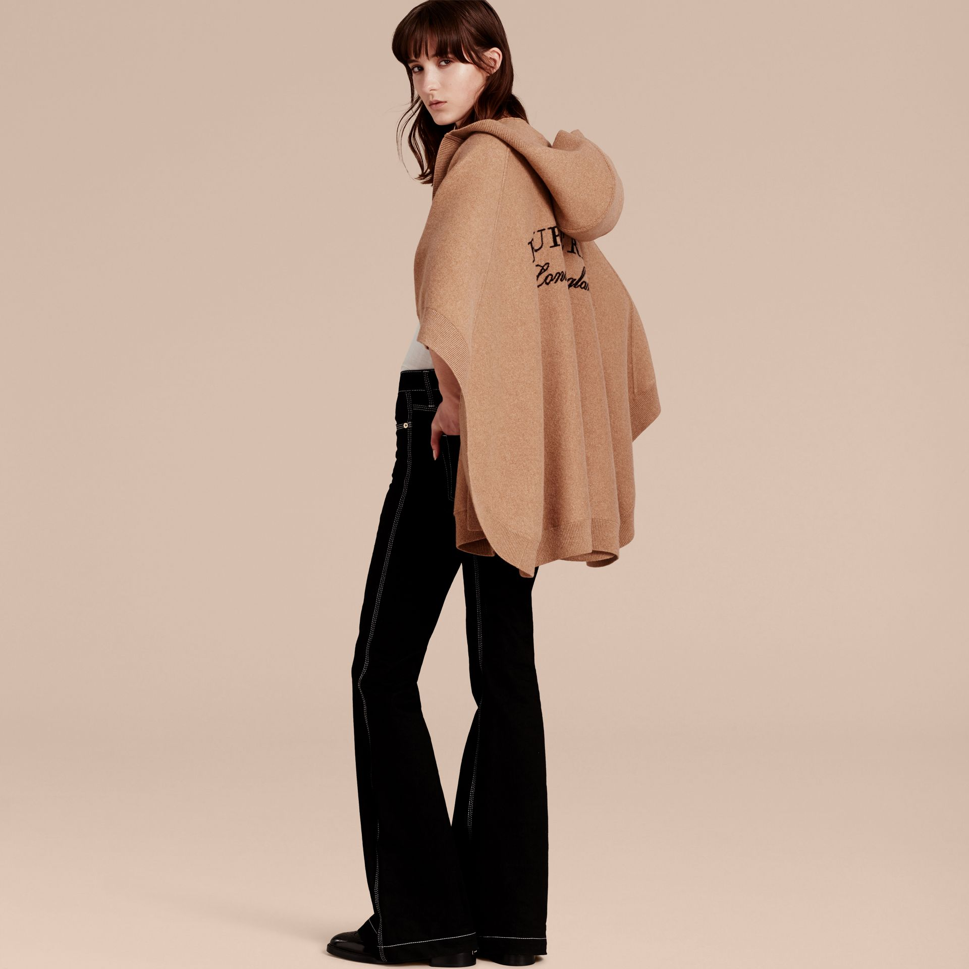 Wool Cashmere Blend Hooded Poncho Camel - gallery image 3