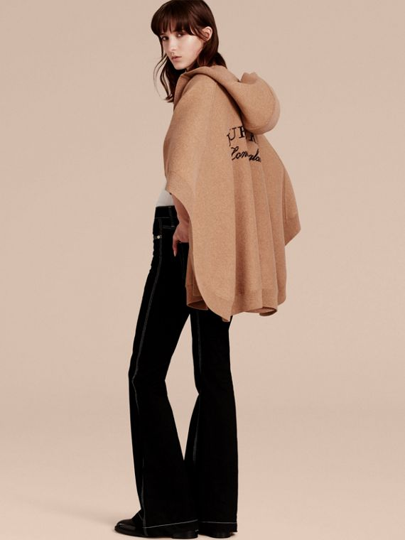 Camel Wool Cashmere Blend Hooded Poncho Camel - cell image 2