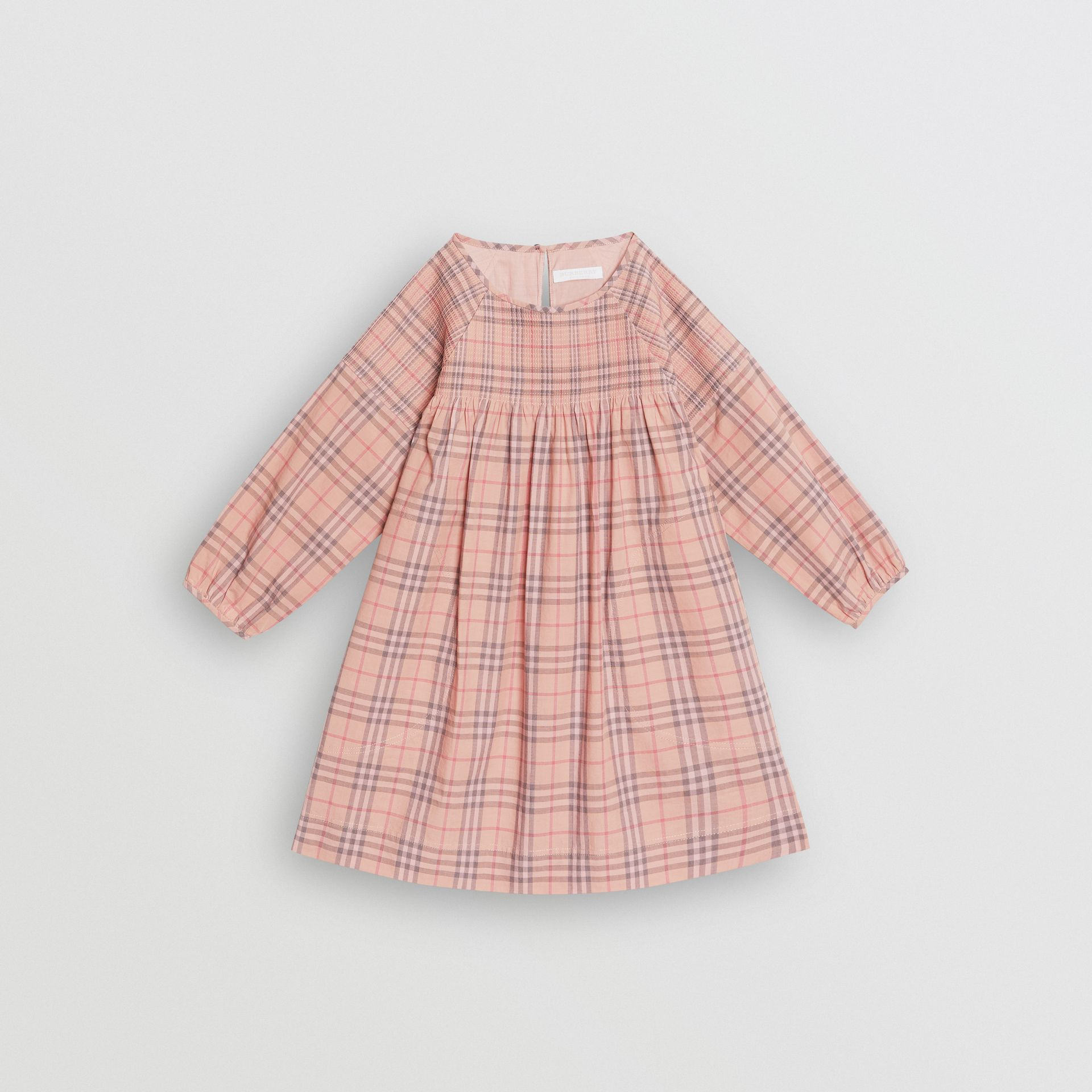 Check Cotton Poplin Dress in Pale Pink - Children | Burberry - gallery image 0