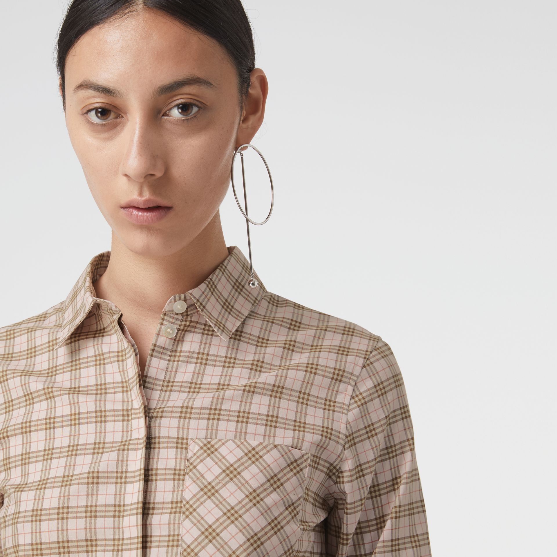Check Cotton Shirt in Ice Pink - Women | Burberry United States - gallery image 1