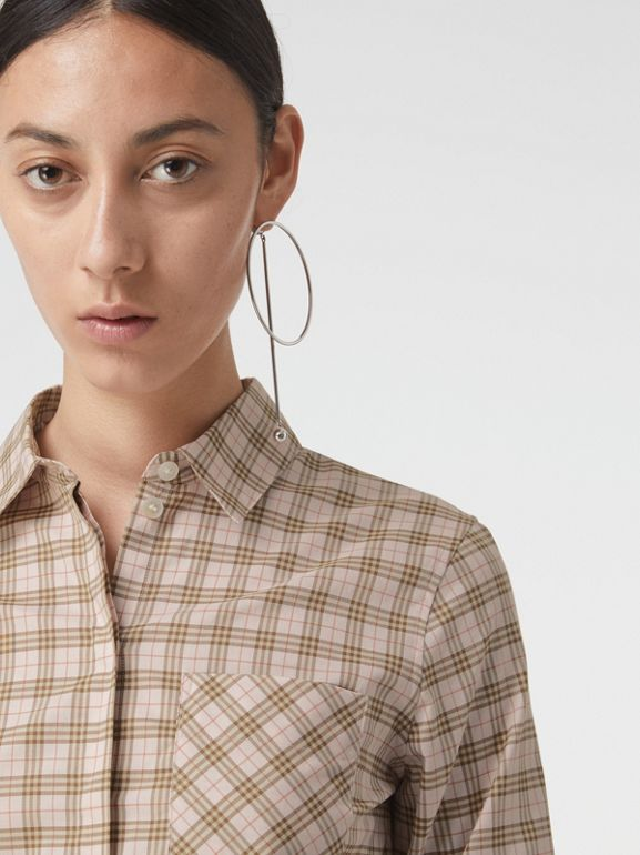 Check Cotton Shirt in Ice Pink - Women | Burberry - cell image 1