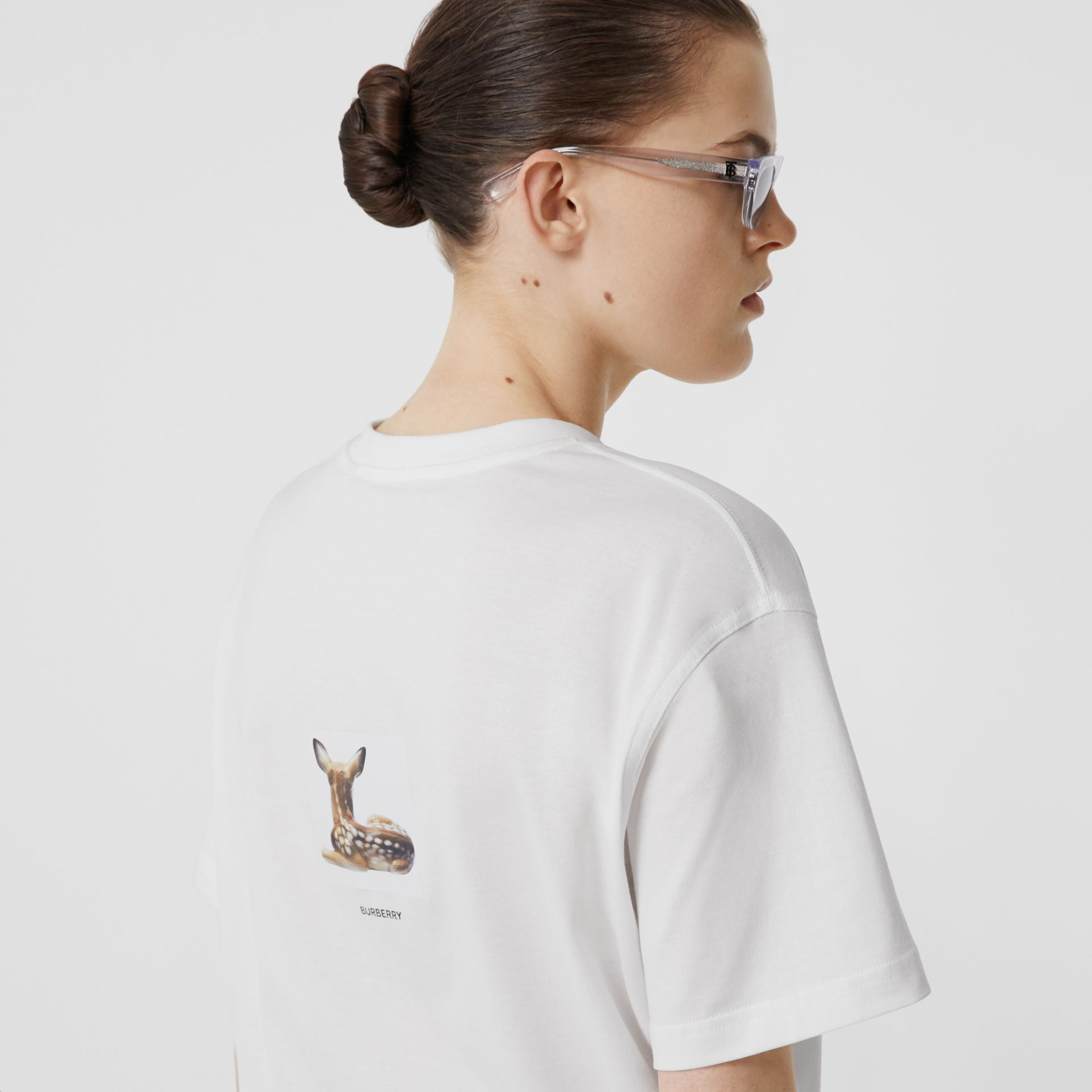 Deer Print Cotton T-shirt in White | Burberry Australia - gallery image 1