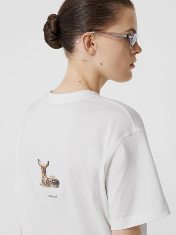 Deer Print Cotton T-shirt in White | Burberry Australia - cell image 1