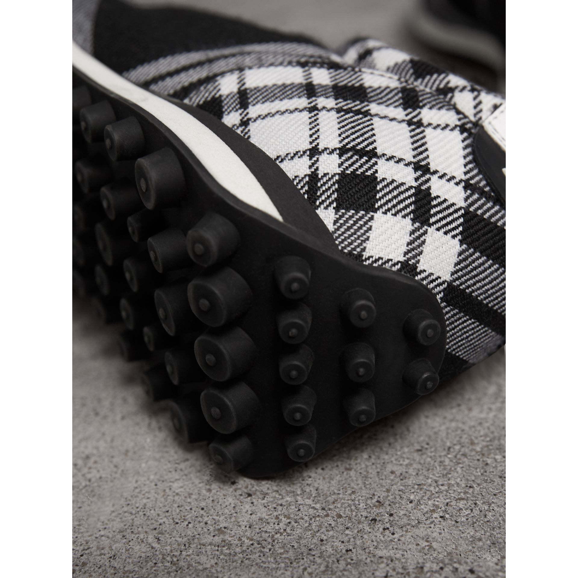 Tartan Wool Trainers in Black - Men | Burberry - gallery image 1