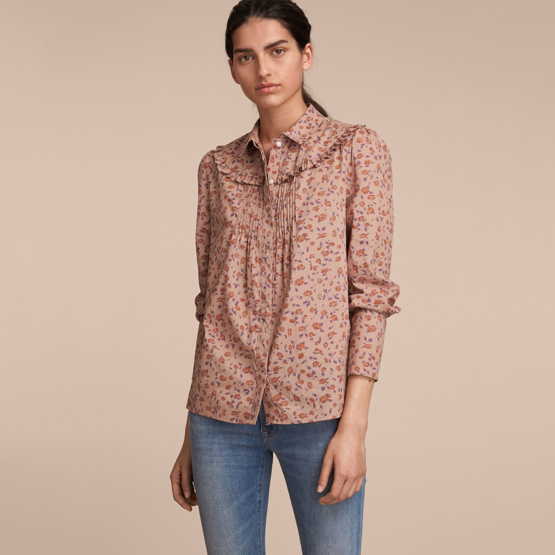 Ruffle Yoke Floral Print Cotton Shirt in Light Copper - Women | Burberry - gallery image 6