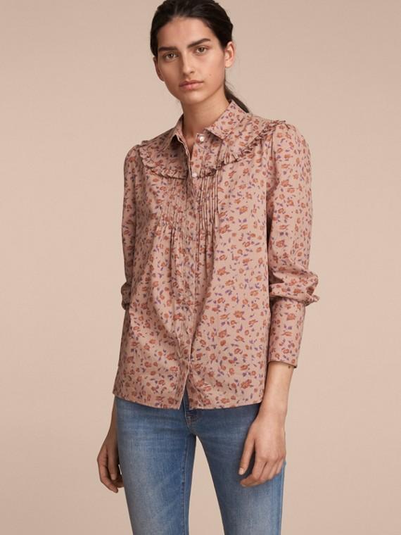 Ruffle Yoke Floral Print Cotton Shirt in Light Copper